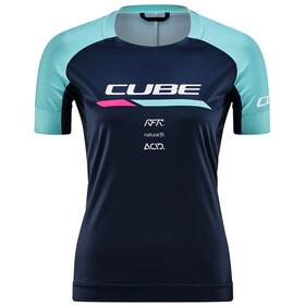 Cube Teamline Maillot Manches courtes Col rond Femme, blue´n´mint